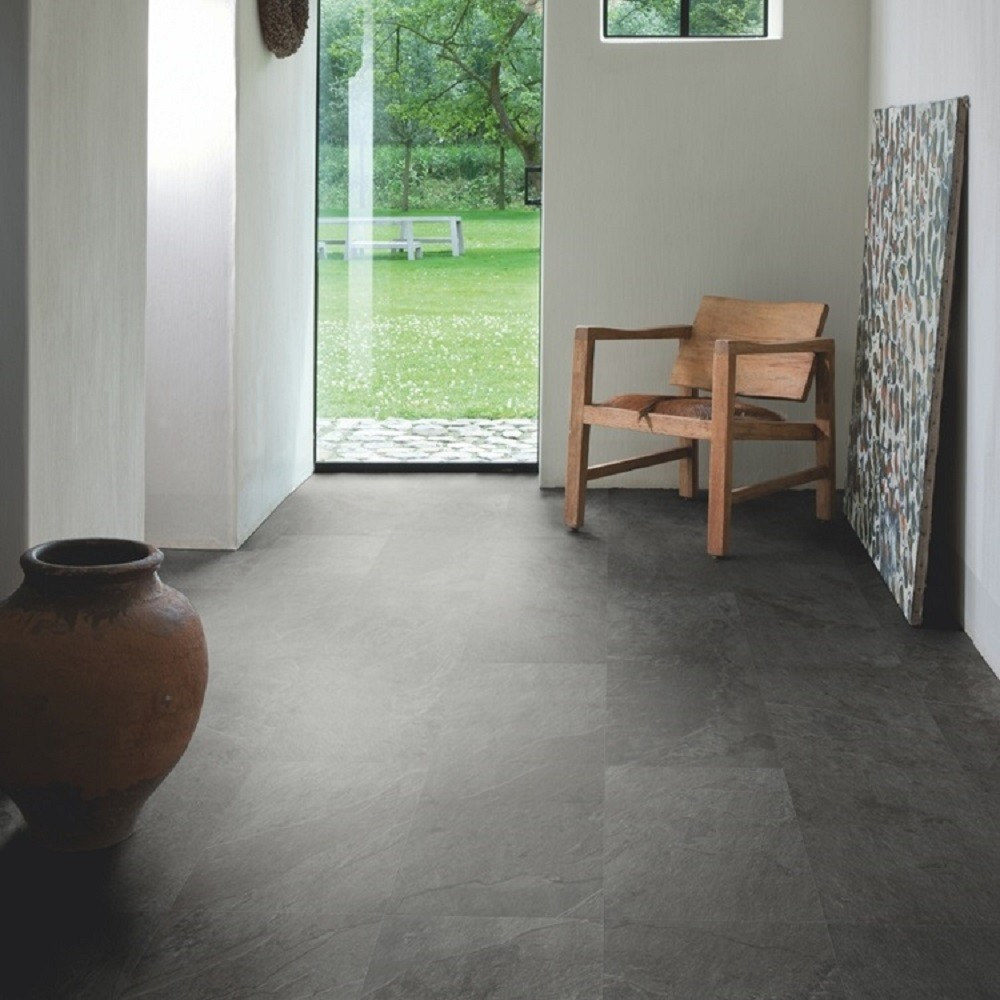 QUICK STEP VINYL WATERPROOF AMBIENT CLICK COLLECTION BLACK SLATE  FLOORING 4.5mm