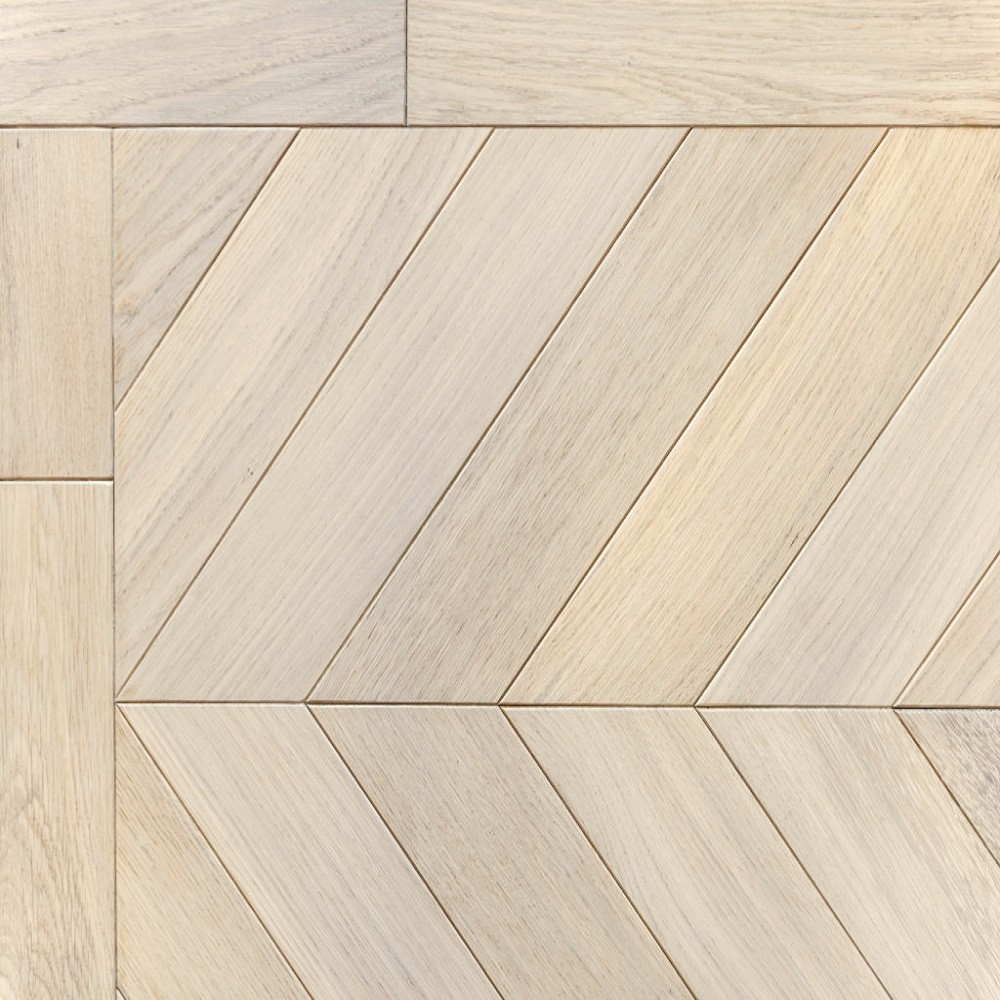 KAHRS Chevron Swedish Engineered wood Flooring Oak  White Oiled 305mm