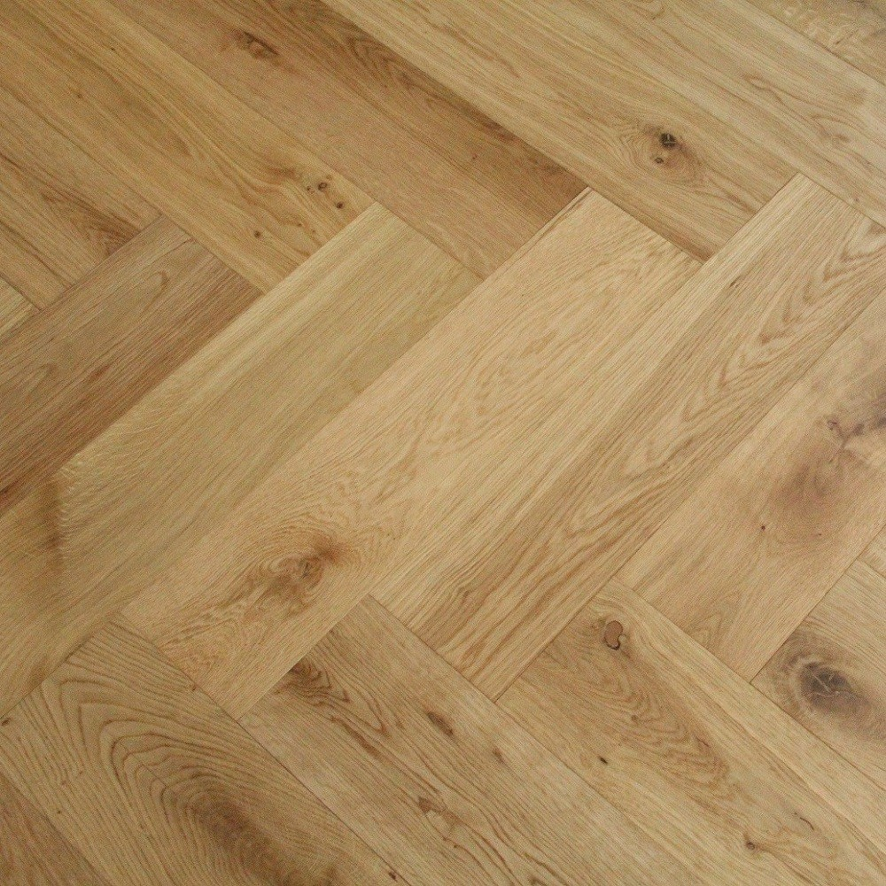 MAXI HERRINGBONE ENGINEERED WOOD FLOORING OAK BRUSHED UV OILED 150X600MM