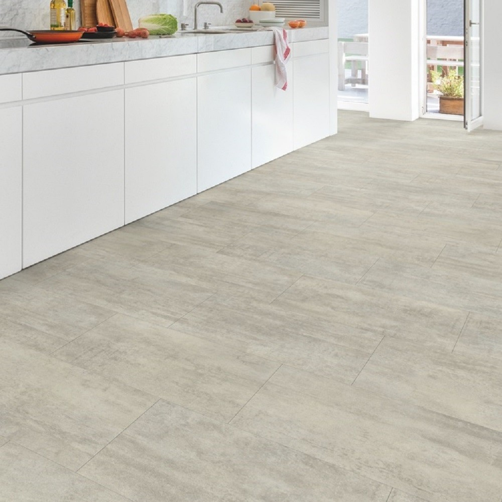 QUICK STEP VINYL WATERPROOF AMBIENT CLICK COLLECTION LIGHT GREY TRAVERTIN  FLOORING 4.5mm