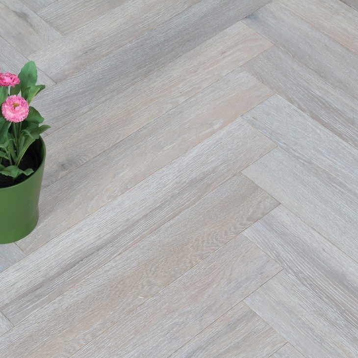 Maxi Herringbone Oak White Oiled Engineered Wood Flooring 90x600mm