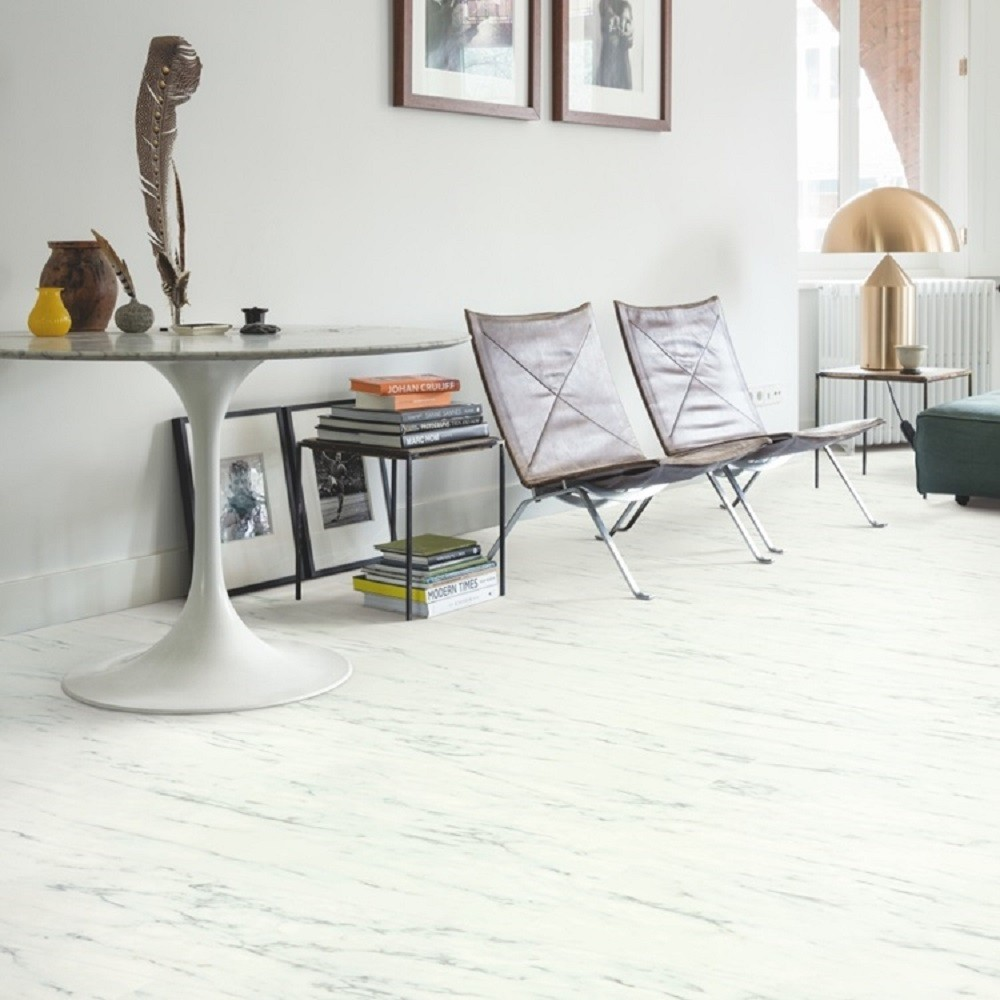 QUICK STEP VINYL WATERPROOF AMBIENT CLICK COLLECTION MARBLE CARRARA WHITE FLOORING 4.5mm