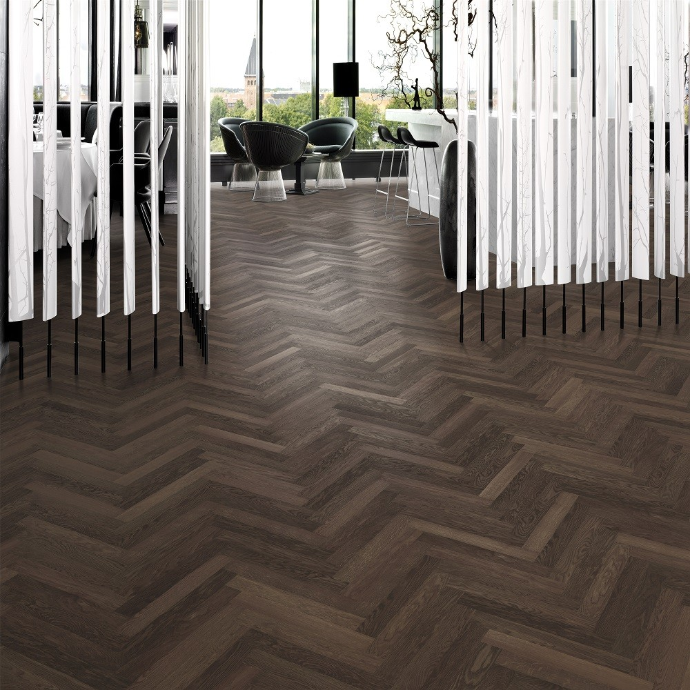 KAHRS Studio Collection Herringbone Swedish Engineered Wood Flooring Oak Smoked AB Lacquered 70mm - CALL FOR PRICE
