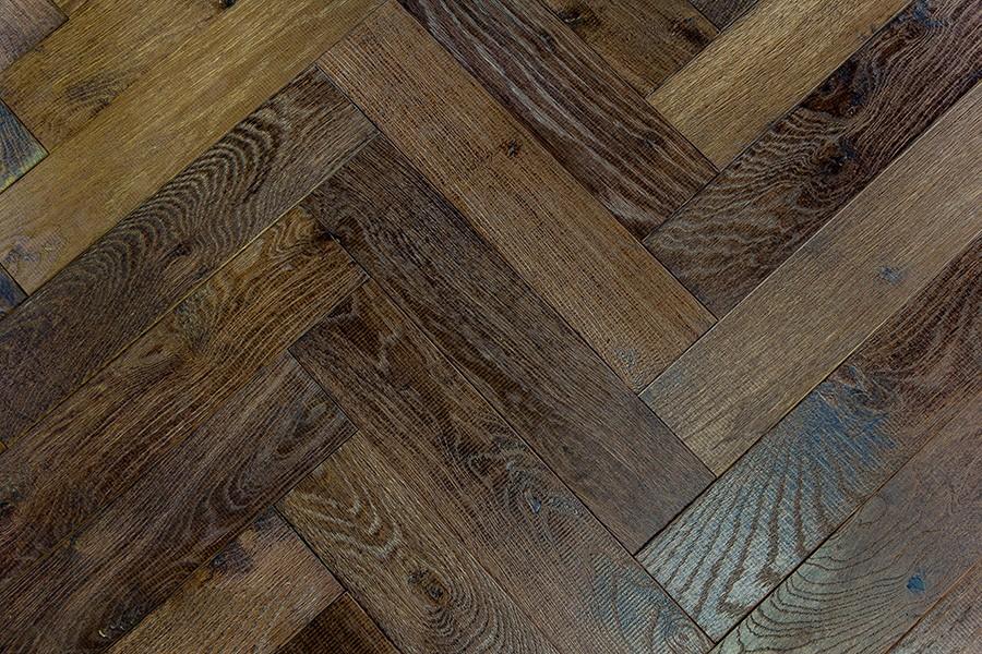 Denoel Engineered Oak Oiled Tannery Brown Parquet Flooring 90 x 360mm