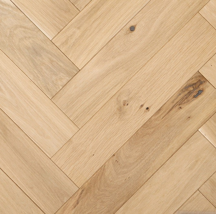 LIVIGNA HERRINGBONE ENGINEERED WOOD FLOORING UNFINISHED RUSTIC OAK 100X500MM