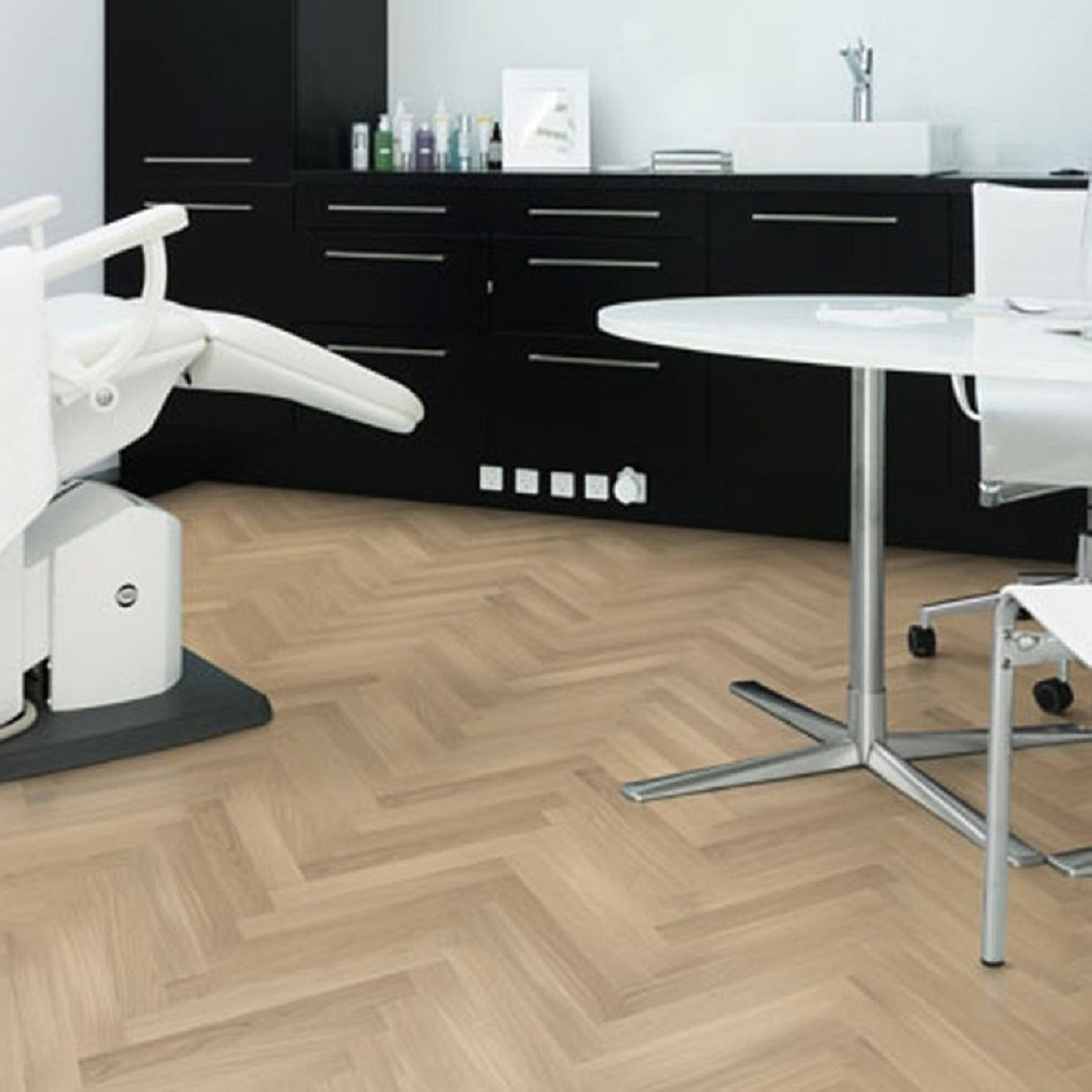 KAHRS Studio Collection Herringbone Swedish Engineered Wood Flooring Oak AB White Oiled 70mm - CALL FOR PRICE