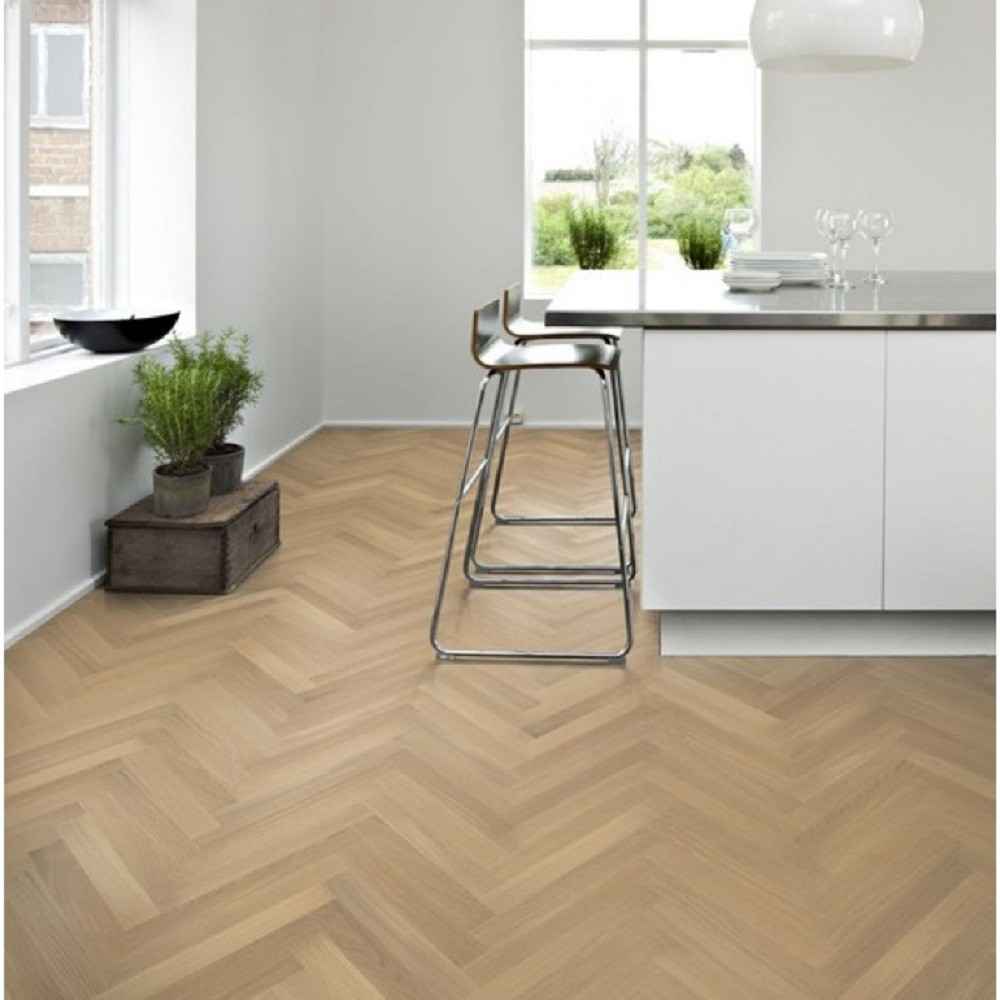 KAHRS Studio Collection Herringbone Swedish Engineered Wood Flooring Oak CD White Oiled 70mm - CALL FOR PRICE