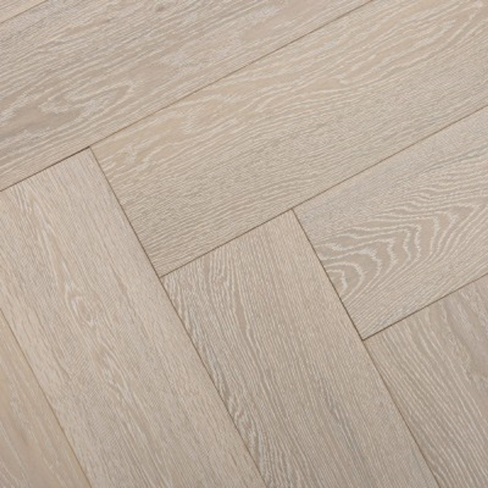 YNDE-PARQUET HERRINGBONE ENGINEERED WOOD WHITE WASHED OAK MATT LACQUERED FLOORING 150X600MM