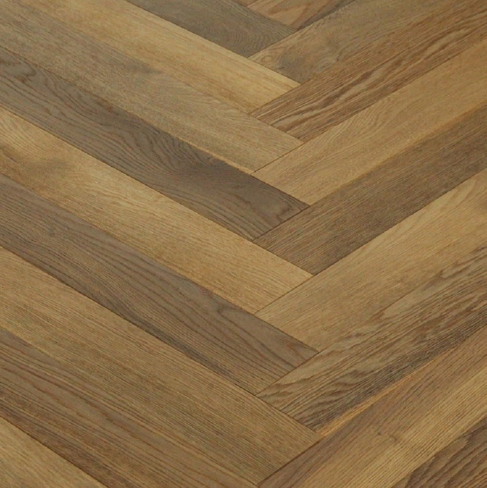 MAXI HERRINGBONE ENGINEERED WOOD FLOORING OAK SMOKED BRUSHED NATURAL OILED 150X600MM