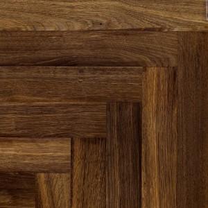 Livigna Herringbone SOLID OAK PARQUET Rustic Flooring Smoked  Unfinished 70 x500mm