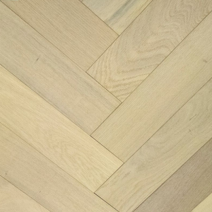 NATURAL SOLUTIONS HERRINGBONE  ENGINEERED WOOD FLOORING OAK SCANDIC WHITE BRUSHED&UV OILED 100x400mm